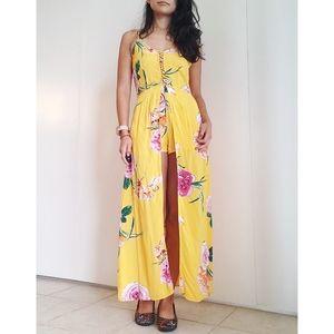Derek Heart Yellow Floral Short Romper/Dress